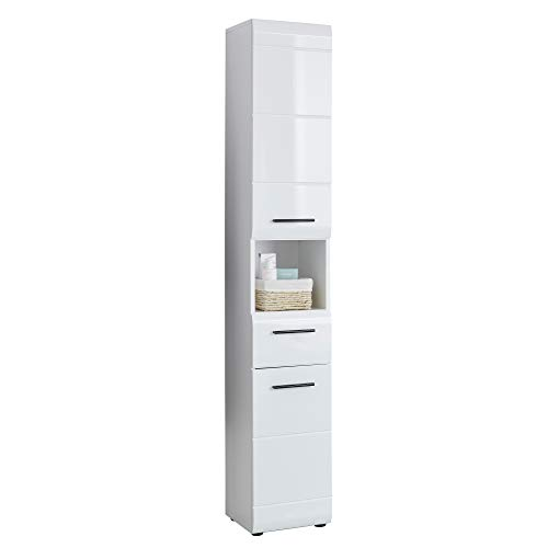 trendteam smart living Badezimmer Hochschank Schrank Skin, 30 x 182 x 31 cm in Weiß Hochglanz mit offenem Fach