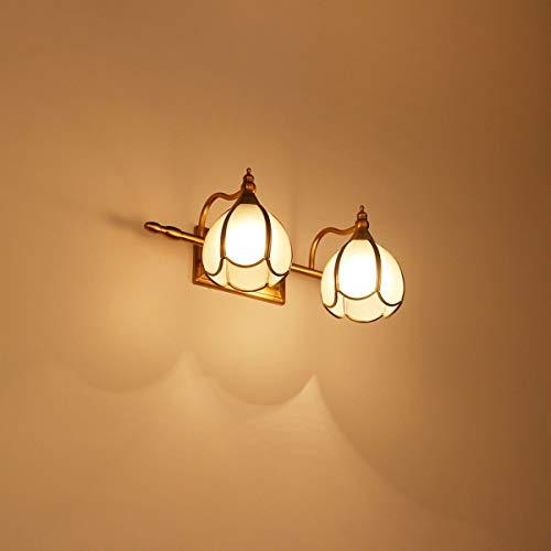 Appliques murales Applique Murale Vintage Lampe de Miroir LED Lampe de Salle de Bain Coiffeuse américaine Lampe de Miroir cuivre Art, Or, Quatre têtes (33,9 po) (Couleur : Or, Taille : Quatre têtes)