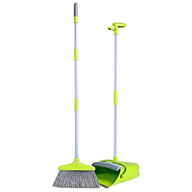 Broom and Dustpan Set, Dustpan with Long Handle Broom Combo Set, Upgraded Lobby Broom & Dustpan Combo, Upright Grips Sweep Set with Broom