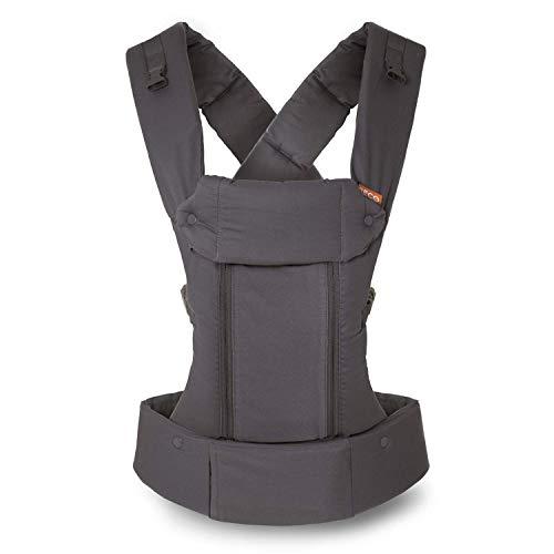 Beco 8 Portabebés – Portabebés de soporte y adaptable para bebés de 7 a 45 libras con panel de malla fresca convertible (Dark Grey Cotton)