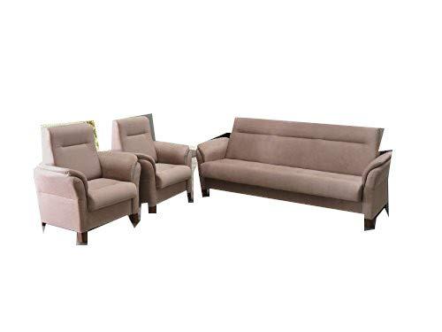 mb-moebel Polstergarnitur Sofa Set 3er Couch & 1er Wohnlandschaft 3-Sitzer und Zwei Sessel Möbel Set - Anna (Cappuccino)