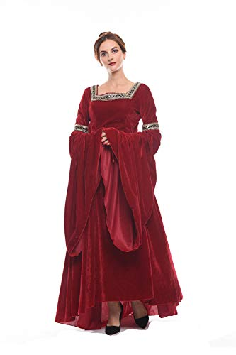 NSPSTT Medieval Dress Women Queen Costume Renaissance Irish Over Dress Halloween Costume Velvet Red X-Large