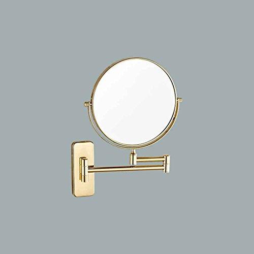 Miroirs de Salle de Bains Mural de Salle de Bains télescopique Double Face 3X Grossissement Normal (Couleur : Square Bottom, Taille : Diameter 15cm)