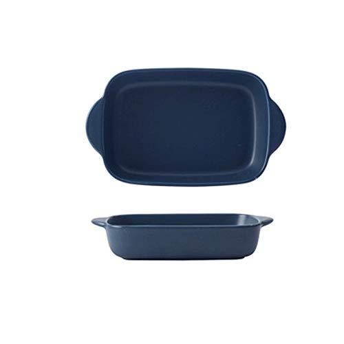 Moderna pan hornear queso al horno al horno Arroz horneado Pan Binaural Placa rectangular Horno Vajilla Cerámica Cena plato (Color : Blue)