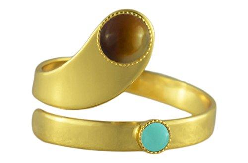 Rings 24K Vergoldete Spirale, Verstellbar Universalgröße hellbraun Gestreifte Achat Runde Tschechische Glas Stein Opak Türkis Handmade BohemStyle