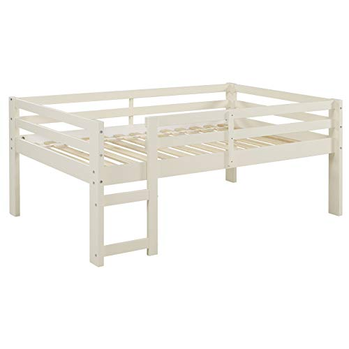 Walker Edison Wood Twin Low Loft Bunk Kids Bed Bedroom with Guard Rail and Ladder, White