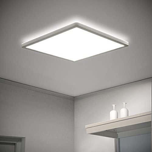 Lámpara de techo LED plana, panel cuadrado, 18 W, 2000 lm, IP44, 2,5 cm, ultrafina, para pasillo, baño, cocina o balcón