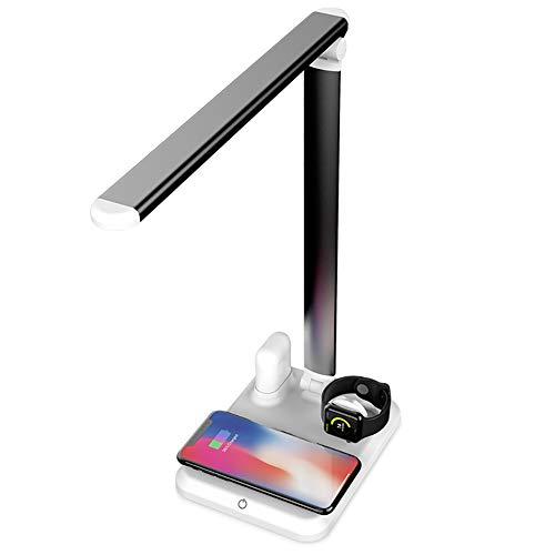 LED Lámpara Escritorio con Carga Inalámbrica Cargador Inalámbrico De Dispositivos Multi con Puerto USB/Oficina Doméstica/Luz Regulable De Cuidado para iPhone/Android/IWATCH Y Tablets