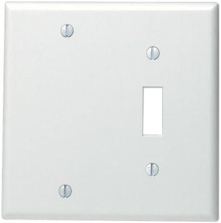 Leviton 88006 2 Gang 1 Toggle 1 Blank Device Combination Wallplate Standard Size Thermoset Box Mount White Switch Plates