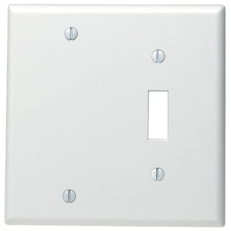 Leviton 88006 2 Gang 1 Toggle 1 Blank Device Combination Wallplate Standard Size Thermoset Box Mount White Switch Plates
