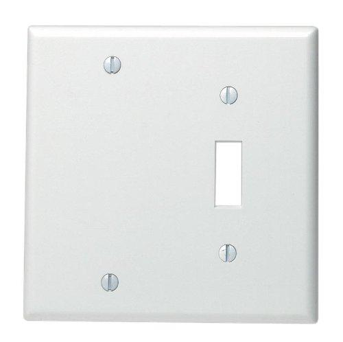 Leviton 88006 2-Gang 1-Toggle 1-Blank Device Combination Wallplate, Standard Size, Thermoset, Box Mount, White