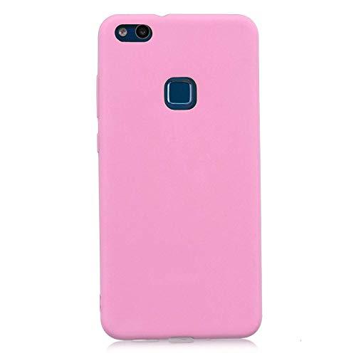 cuzz Funda para Huawei P10 Lite+{Protector de Pantalla de Vidrio Templado} Carcasa Silicona Suave Gel Rasguño y Resistente Teléfono Móvil Cover-Rosa Oscuro