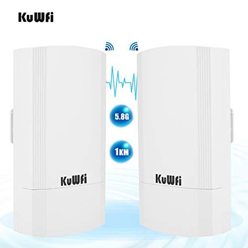 KuWFi Kit CPE esterno wireless da 900 Mbps da 2 pacchetti, Bridge/CPE wireless point-to-point per interni ed esterni Supporta la soluzione di trasmissione a distanza 1KM per PTP, PTMP