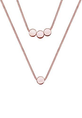Elli Halskette Damen Kreis Geo Layer Trend in 925 Sterling Silber