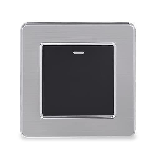 HLY-CASE 1 GAND 2 Way ON/Off Wall Stair Rocker Lighter Switch Panel de Acero Inoxidable Pase a través del Interruptor Switched 16A Diseño Elegante (Color : Black)