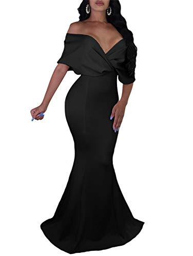 GOBLES Women Sexy V Neck Off The Shoulder Evening Gown Fishtail Maxi Dress Black