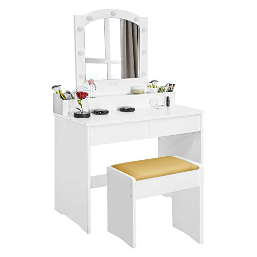 Vanity Desk, Makeup Vanity Table with Mirror Waterproof LED Lights, Storage, Drawers, Bench and...