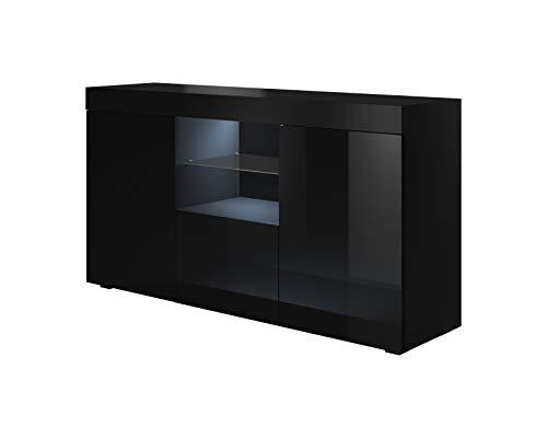 muebles bonitos Bahut modèle Sefora Couleur Noir 135cm LED