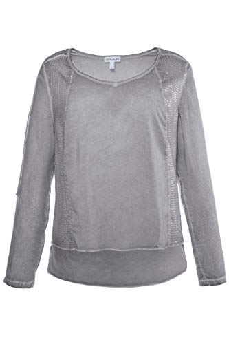 GINA LAURA Damen bis Größe 3XL | Langarmshirt | Tunika Pailetten-Dekor | Regular-Fit | Cold-Dyed Optik Bluse | grau L 713192 16-L
