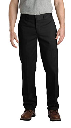 Dickies Men's Slim Straight Fit Work Pant, Black, 34X30