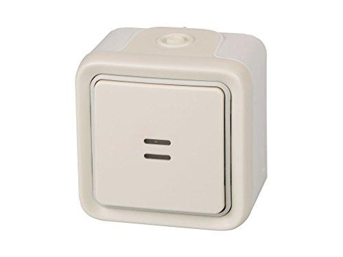Legrand, 191517 Plexo - Interruptor de pared luminoso, pulsador estanco de superficie de la gama Plexo, interruptor exterior, resistente al agua (IP55), color blanco