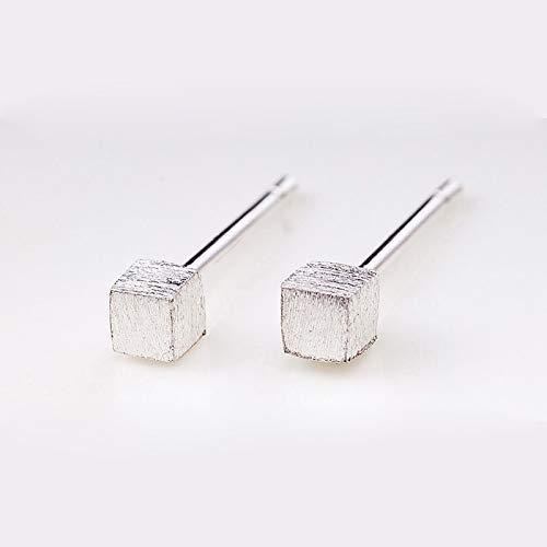 WGGTX Arete Pendientes Cube Temperamento Simple 925 Plata All-Match Men's y regalos para mujeres regalos (Color : Brushed)