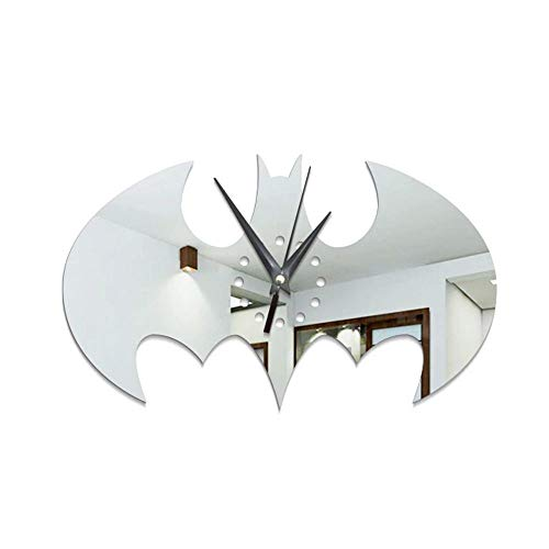 Wandaufkleber, Diy Batman Wanduhr Wandaufkleber Abnehmbare Acryl Aufkleber 3D Spiegel Home Decor Silber