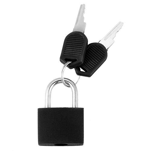 HEEPDD Mini Travel Vorhängeschloss, 0,91 x 1,39 x 1,18 Zoll Hochsicherheits-Mini-Schloss mit 2 Schlüsseln Mehrfarbiges kunststoffbeschichtetes Vorhängeschloss für Gepäck Handtaschen Tagebuch(Schwarz)