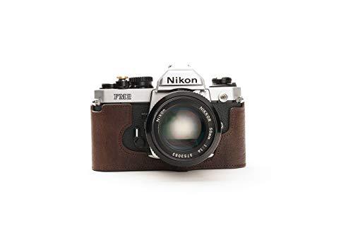 Funda de Cuero Genuino Hecho a Mano con Media cámara para Nikon FM2 FM FM2n FE FE2 Color marrón Oscuro