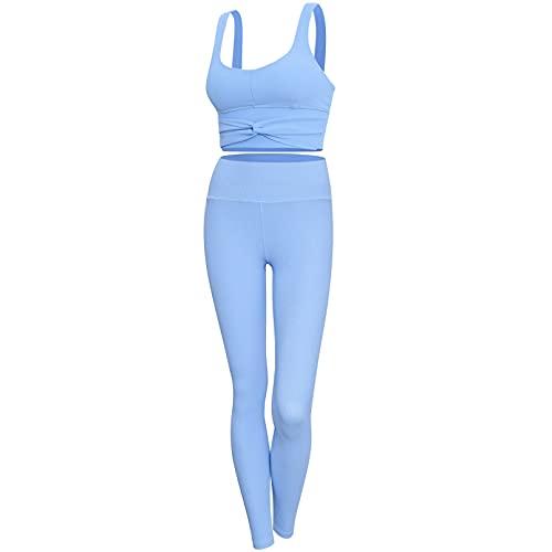 YLBHD Sin costuras Rayas Yoga Conjuntos Bowknot Deportes Bra Cintura Alta Leggings Correr Ropa Deportiva Mujer Gimnasio Fitness Ropa Chándal