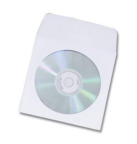 G&BL 3220 Custodia di Carta per CD con Finestra in PVC, 50 Pezzi, Bianco