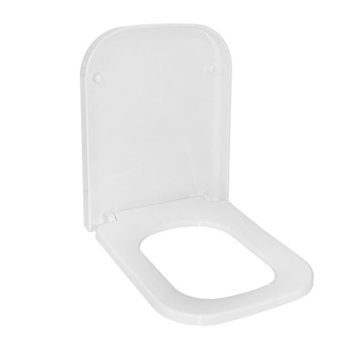 Toilettensitz mit Absenkautomatik und Easy Clean, Toilettendeckel, WC, Soft-Close, Klodeckel (Weiß (D-Form))