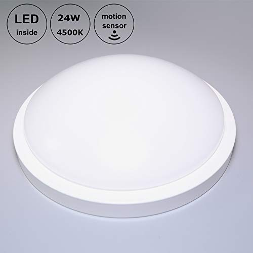 Goldenkayi LED Bulkhead-Deckenleuchte mit Bewegungsmelder, Tageslichteinbauleuchte für Flur, Diele, Badezimmer, Wohnzimmer, Esszimmer, 24W, Naturweiß (4500K), Mikrowellensensor