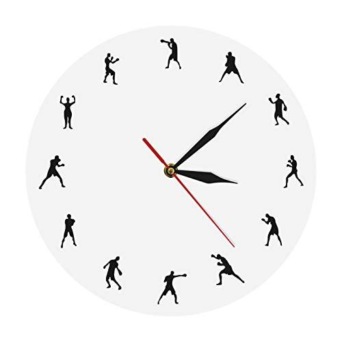 yage Boxeo Diseño Minimalista Moderno Reloj de Pared Boxing Fighters Decorativo Prizefighting Reloj de Pared Boxeo Boxers Arte de la Pared Regalo Deportivo