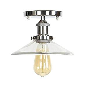 Ganeep Loft Industrial Decor LED Lámpara de Techo Para Sala de estar Cristal Transparente E27 Bombilla Edison Lámparas de Techo Vintage Plafon Lamparas De Techo (Color : Chrome)