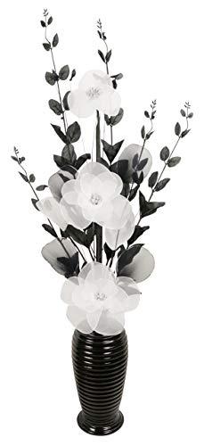 Flourish künstliche Blumen mit vase, Polyester, Schwarz und Weiß, 80cm