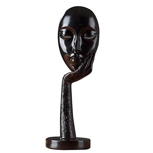 CHOUDOUFU Estatua Escultura Adorno Luda Meditadores Humanos Modernos Resumen Señora Cara Personaje Resina Estatuas Escultura Artesanía Estatuilla Exhibición Decorativa para El Hogar, Negro