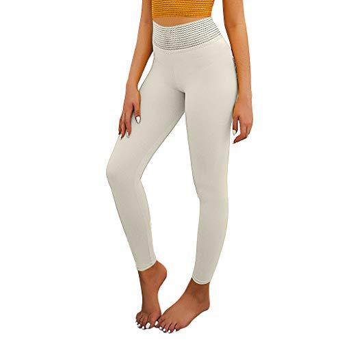 YXIU Damen Sporthose Pure Color Hip Lifting Fitnesshose Falten Elastic Fitness Laufen Yoga Pants mit Taschen