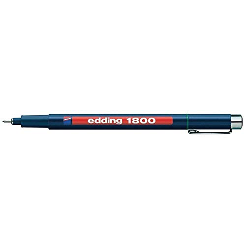 Edding 1800profipen Pigment Liner Kugelschreiber, feine Spitze Zeichentisch (Box von 10)–0,5mm schwarz