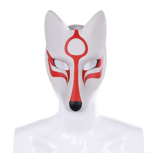 Halloween 3D Fox Masker, Anime Classic Fox PU Lederen EVA Wit Spook Dans Grimace Masker Volwassen Ball Mask Festival Cosplay (wit)