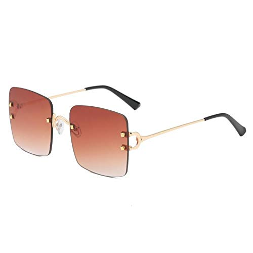 ZZOW Gafas De Sol Cuadradas Clásicas Sin Montura para Mujer, Lentes Transparentes con Gradiente De Océano, Gafas De Moda para Hombre, Gafas De Sol para Conducir, Oculos Uv400