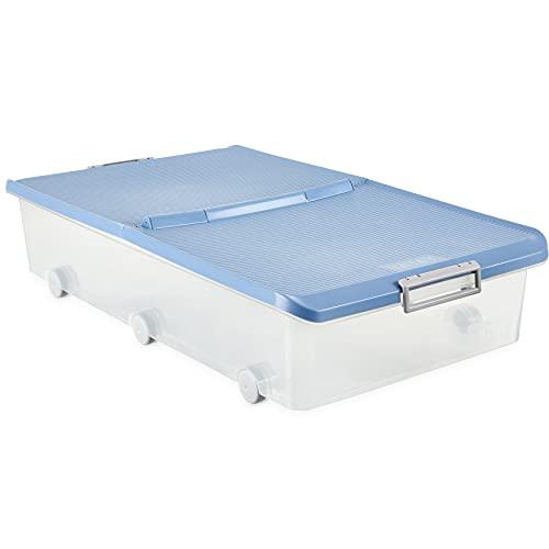 Tatay Caja Almacenaje Multiusos con Tapa, Bajo Cama, 63 L de Capacidad, Con Asas y Ruedas, de Polipropileno, Libre de BPA, Azul Paloma, Medidas 45 x 77 x 18 cm