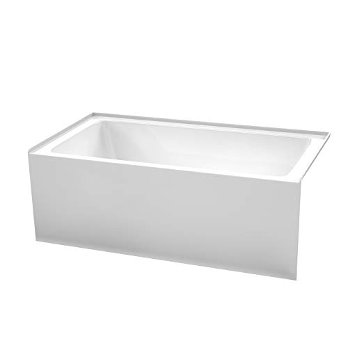 Grayley 60 x 32 Inch Alcove Bathtub in White with Right-Hand Drain and Overflow Trim in Polished Chrome