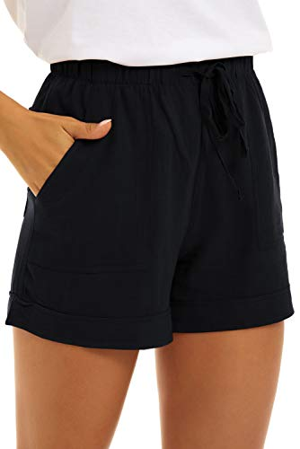GOLDPKF Ladies Shorts Cotton Plus Size Summer Shorts Soft Shorts Women Summer Clothes for Teen Girls Summer Shorts Business Casual Black X-Large