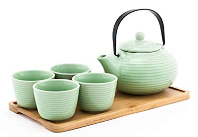 Happy Sales HSTS-SPGRN4, Tea Set with 26 oz Teapot,Four Cups and Bamboo Tray, Green