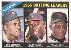 1966 Topps Regular (Baseball) card#215 Aaron/Clemente/Mays of the - Undefined - Grade very good/excellent