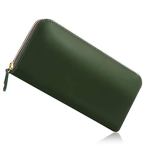 [Xviita](エクスビータ) 財布 メンズ 長財布 人気商品 品質証明書 ラウンドファスナー 本革 イタリアンレザー メデュセオラックス ギャルソン 小銭入れ 縦型カード入れ YKKファスナー 上質 こだわり抜いた美しさ 緑 (ダークグリーン)