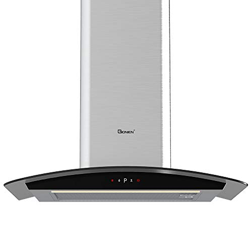 GIONIEN Curved Glass Cooker Hoods, 60cm Chimney, Extractor Fan in Stainless...