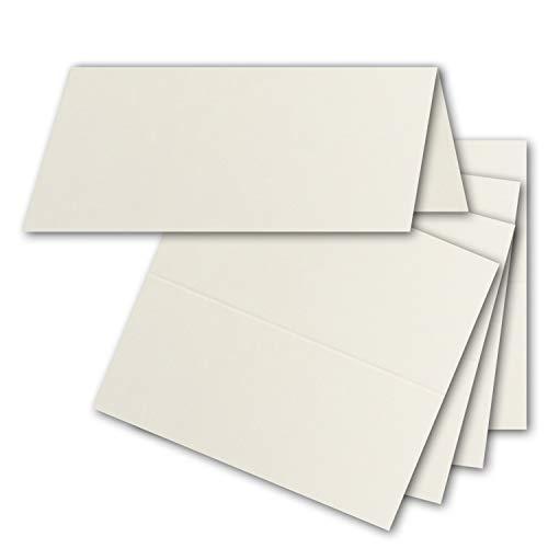 100x Tischkarten in Naturweiß/Chamois (Creme) - 4,5 x 10 cm - blanko - Doppel-Karten - als Platzkarten und Namenskarten für Hochzeit und Feste