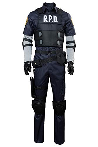 MUCLOTH Leon Kennedy Claire Redfield Halloween Jacket Cosplay Costume Full Set Outfits (m, Men)
